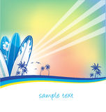 Summer background. With surfboard blue Royalty Free Stock Images