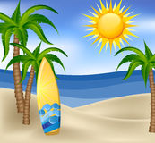 Summer background with surfboard and palm trees Royalty Free Stock Photography