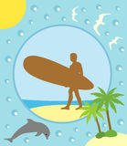 Summer background with surfer Royalty Free Stock Image
