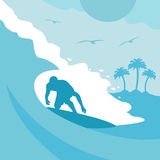 Summer background with surfer and wave Royalty Free Stock Photography