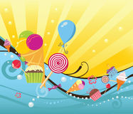 Summer background with sweets and ice creams Royalty Free Stock Photography