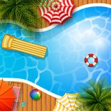 Summer background with swimming pool, umbrella, mattress and inflatable ring. Illustration of Summer background with swimming pool, umbrella, mattress and Stock Photography
