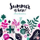 Summer background template with abstract and floral elements. Can be used for advertising and invitations. Summer background template with abstract and floral Stock Photos