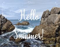 Summer background with text Hello,Summer. stock photo