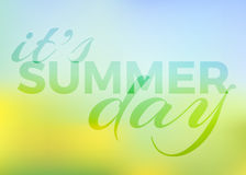 Summer background with text - Vector. Summer background with text - it's summer day. vector blur sunny background, colour gradient mesh of flowers on the field Stock Image
