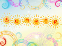 summer background with text in yellow suns and circles and spirals stock illustration