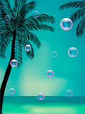 Summer background with transparent bubbles. royalty free illustration