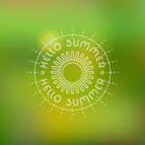 Summer background in trendy blurring background with hand-lettering Hello Summer. Template for Flat Summer design royalty free illustration