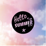Summer background in trendy blurring background with hand-lettering Hello Summer. Template for Flat Summer design royalty free stock photos