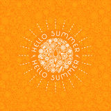 Summer background in trendy linear style with hand-lettering Hel. Lo Summer. Banner or Card with flowers.Emblem and icon of flowers. Template for Flat Summer royalty free stock photo