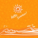 Summer background in trendy linear style with hand-lettering Hello Summer. Banner or Card with flowers.Emblem and icon of flowers. Template for Flat Summer stock photos