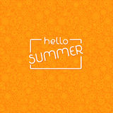 Summer background in trendy linear style with hand-lettering Hello Summer. Banner or Card with flowers.Emblem and icon of flowers. Template for Flat Summer royalty free stock image
