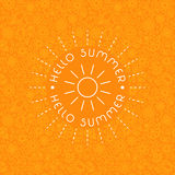 Summer background in trendy linear style with hand-lettering Hello Summer. Banner or Card with flowers.Emblem and icon of flowers. Template for Flat Summer royalty free stock images