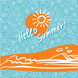 Summer background in trendy linear style with hand-lettering Hello Summer. Banner or Card with flowers.Emblem and icon of flowers. Template for Flat Summer stock photography