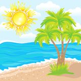 Summer background, tropical beach with palm trees Royalty Free Stock Photo
