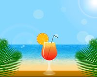 Summer background with tropical decoration. vector illustration