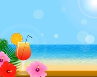 Summer background with tropical decoration stock illustration