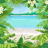 Summer Background with Tropical Frame on Seaside. Summer background with tropical plants. Square floral frame on seaside landscape. Tropic foliage border on vector illustration