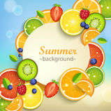Summer background with tropical fruits. Summer background with tropical fruits and berries and round frame for the text. Vector illustration Royalty Free Stock Images