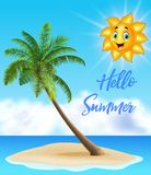 Summer background with tropical island and cartoon sun Stock Photos