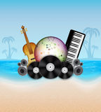 Summer background. Tropical sea and beach. Summer music party. EPS10 vector Stock Photography