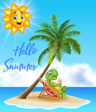 Summer background with turtle eating ice cream Royalty Free Stock Photos
