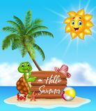 Summer background with turtle and wooden sign Royalty Free Stock Photo