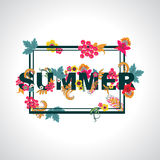 Summer background with typography design with leaves and flowers Stock Photography