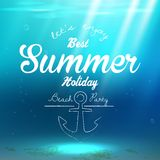 Summer background on underwater with sun rays Royalty Free Stock Photos