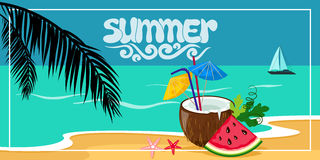 Summer background, vector illustration on the beach with waves Stock Images