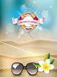 Summer background with view of the beach, fishnet and flower Royalty Free Stock Photo