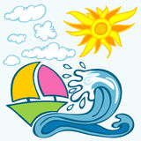 Summer background with wave boat sun and clouds Royalty Free Stock Image