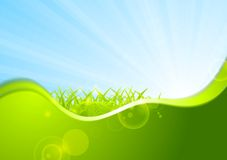 Summer background with wave and grass Royalty Free Stock Photo
