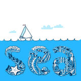 Summer background with waves and yacht. Sea doodle lettering com Stock Photos