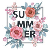 Summer background withr, abstract paper flowers, floral background, blank round frame, greeting card template.Vector. Royalty Free Stock Photography