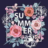 Summer background withr, abstract paper flowers, floral background, blank round frame, greeting card template.Vector. Stock Image
