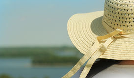 Summer background-woman wearing hat Stock Photo