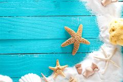 Summer background on wood stock photo