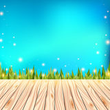 Summer background with wooden deck. Wood floor over green grass and blue sky. Abstract vector illustration. Summer background with wooden deck. Floor over green Royalty Free Stock Photography