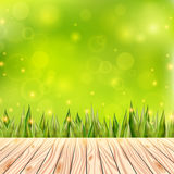 Summer background with wooden deck. Wood floor over green grass and blue sky. Abstract vector illustration. Summer background with wooden deck. Floor over green Royalty Free Stock Images