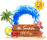 Summer background with wooden sign Stock Image