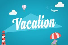 Summer background. With word VACATION. Summer Vacation Holidays Stock Photography