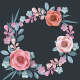 Summer background with a wreath of abstract paper flowers, floral background, blank round frame, greeting card template. Template Vector stock illustration