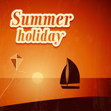 Summer background with yacht. Royalty Free Stock Images