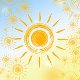 Summer background with yellow suns Royalty Free Stock Image