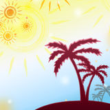 Summer background with yellow suns and brown palms Stock Images