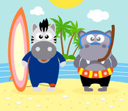 Summer  background with zebra and hippopotamus Royalty Free Stock Photos