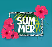 Summer background with zebra print frame, palm tree branches and flowers. Royalty Free Stock Photos