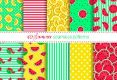 Summer backgrounds collection. Watermelon, melon, fruit,berry dots, stripes seamless patterns set. Seasonal vector repeated textur vector illustration