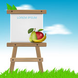 Summer backgrounds with easel and fruits Stock Photo